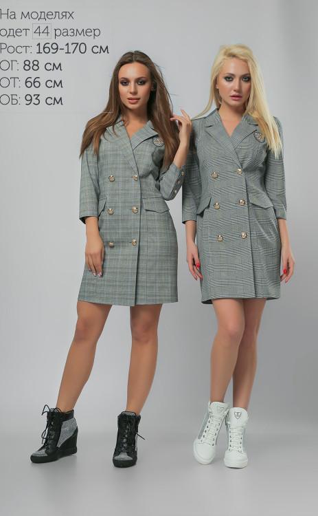 aa12a725f1c Современное платье-пиджак в клетку с пуговицами в два ряда