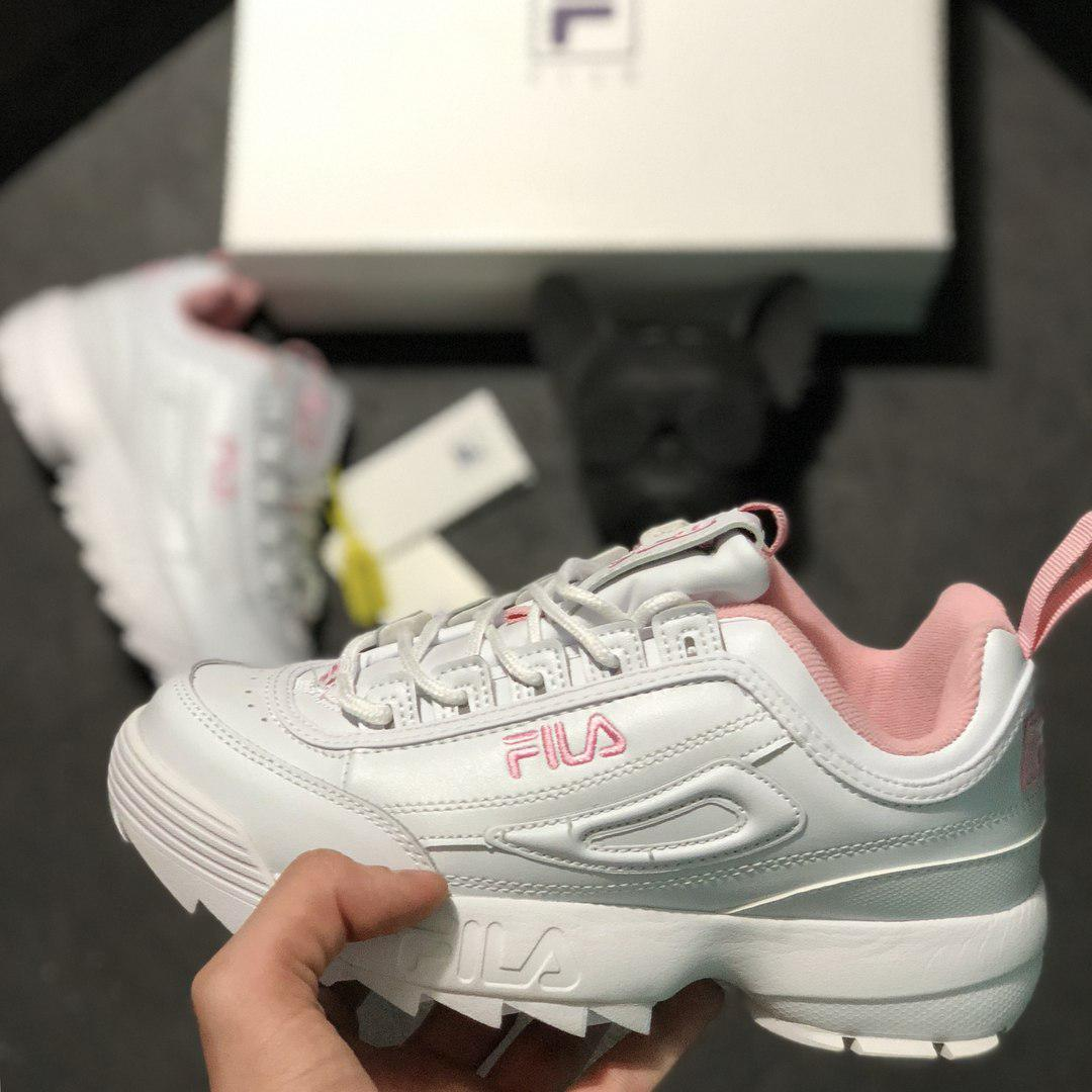 "Кроссовки Fila Disruptor II ""White/Pink"". Живое фото (Реплика ААА+)"