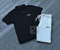 Комплект черная футболка поло и серые шорты Asics | Черная тениска Asics | Серые шорты Асикс
