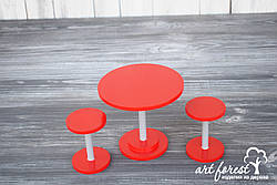 """Кукольная мебель """"Барный стол и стулья"""""""