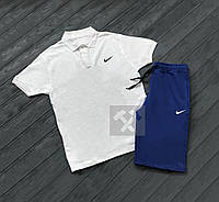 Комплект белая футболка поло и синие шорты Nike | Белая тениска Nike | Синие шорты Найк