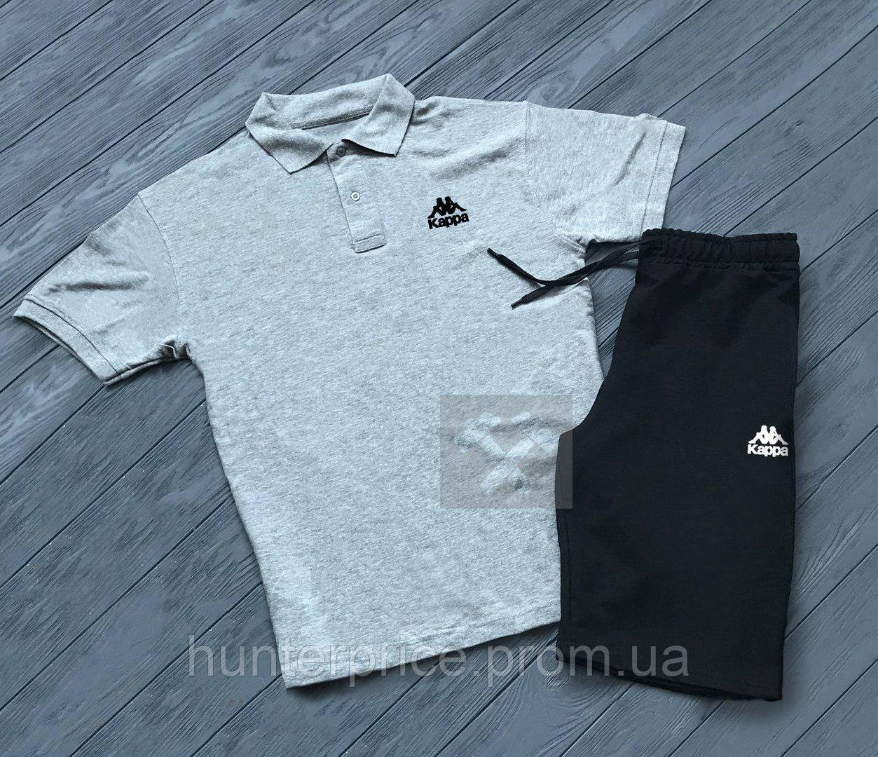 2c8cb31ef02e Комплект серая футболка поло и черные шорты Kappa   Серая тениска Kappa    Черные шорты Каппа