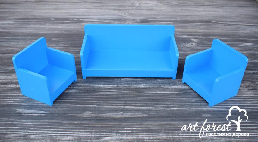 """Кукольная мебель """"Диван и два кресла"""", фото 2"""