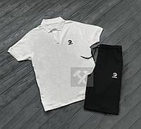 Комплект белая футболка поло и черные шорты Adidas | Белая тениска Adidas | Черные шорты Адидас