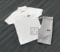Комплект белая футболка поло и серые шорты Nike   Белая тениска Nike   Серые шорты Найк