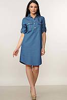 Зручне і практичне повсякденне плаття-сорочка з джинса 44 розмір, фото 1