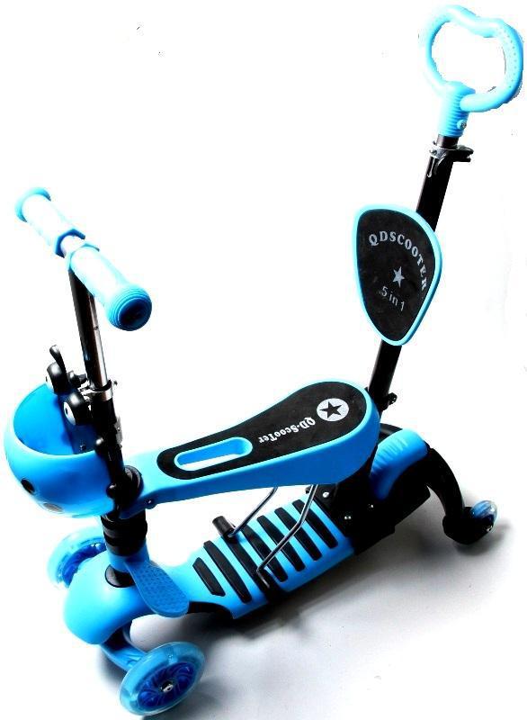 Самокат трехколесный Божья коровка SD BLUE с дополнительными колесами и родительской ручкой