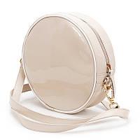 Женская сумка круглая из высококачественной экокожи бежевого цвета с одним основным отделением, фото 1