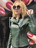 Женская стильная кожаная куртка, фото 1