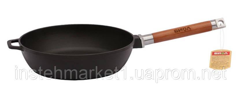 Сковорода БИОЛ Классик 0324 (диаметр 240 мм) чугунная, съёмная деревянная ручка