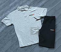 Комплект серая футболка поло и черные шорты Reebok   Серая тениска Reebok   Черные шорты Рибок
