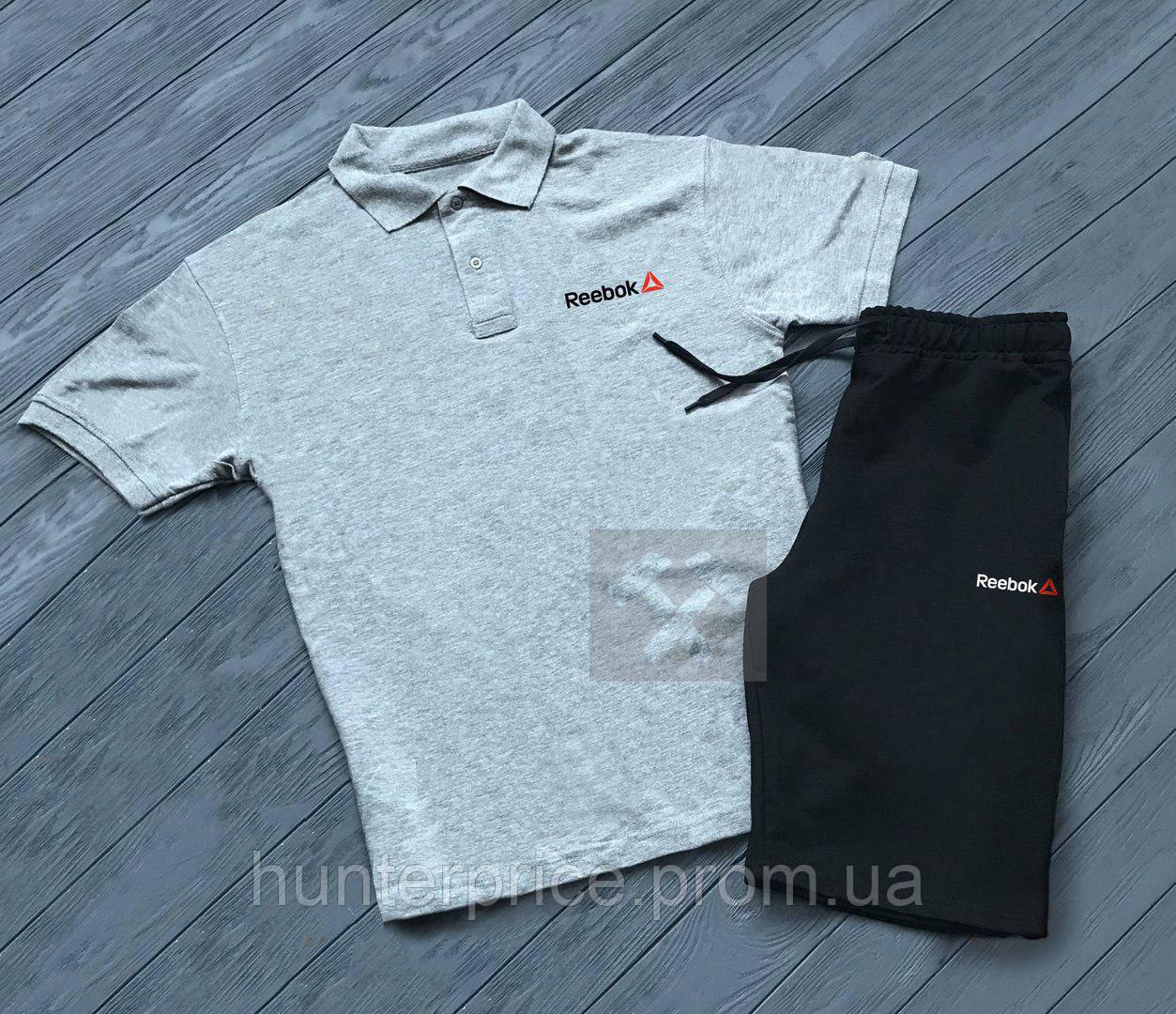 8ee27e22286e Комплект серая футболка поло и черные шорты Reebok   Серая тениска Reebok    Черные шорты Рибок