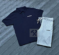 Комплект синяя футболка поло и серые шорты Adidas   Синяя тениска Adidas  Серые шорты Адидас