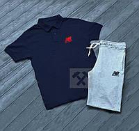 Комплект синяя футболка поло и серые шорты New Balance   Синяя тениска New Balance   Серые шорты Нью Беленс