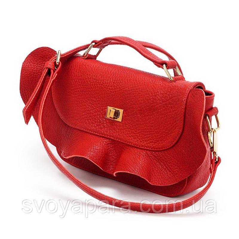 Женский клатч сумка красная кожаная (10-10)