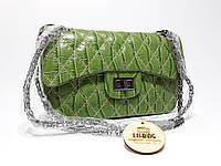 Зелена жіноча сумка на цепку через плече