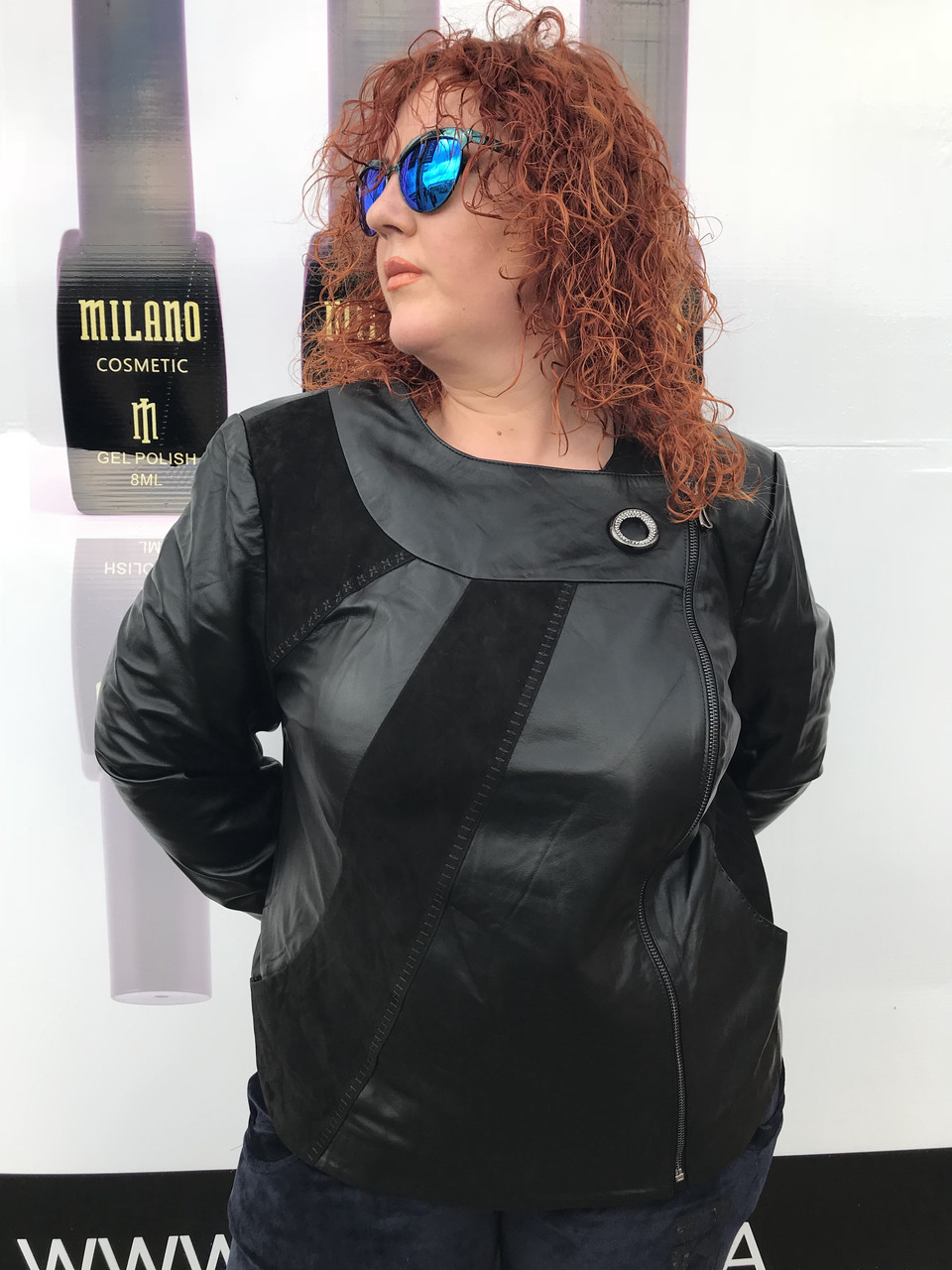 Женская весенняя кожаная куртка большого размера