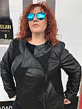 Жіноча весняна шкіряна куртка великого розміру, фото 2