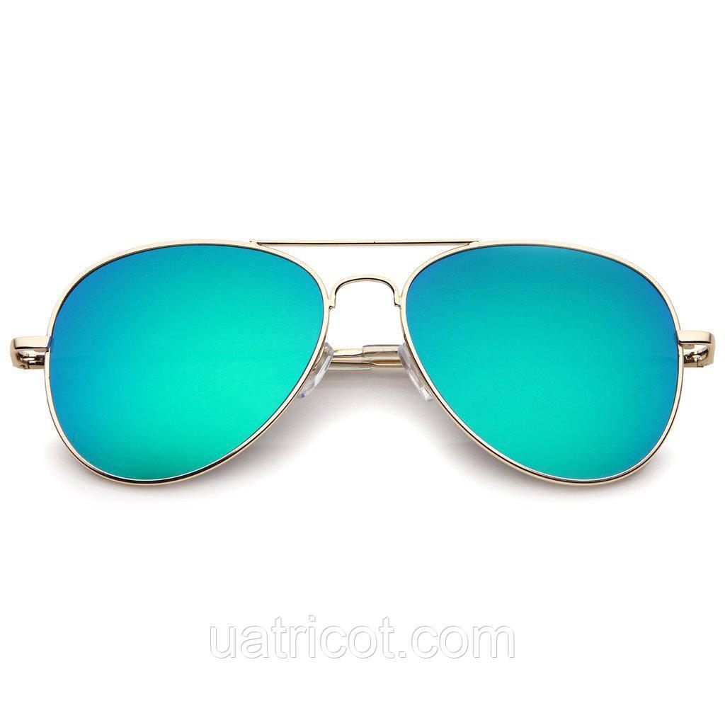 Женские солнцезащитные очки авиаторы в золотой оправе с зелёной линзой