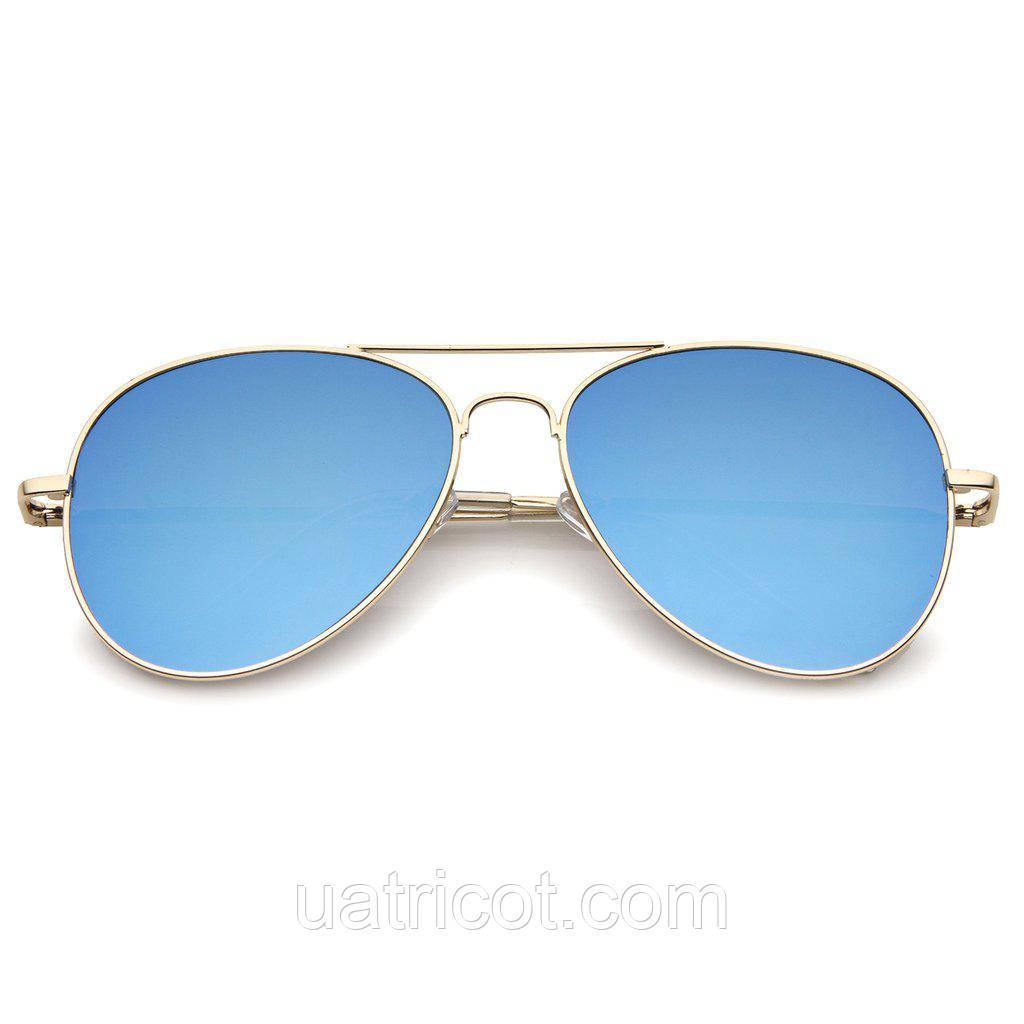 Женские солнцезащитные очки авиаторы в золотой оправе с синей линзой