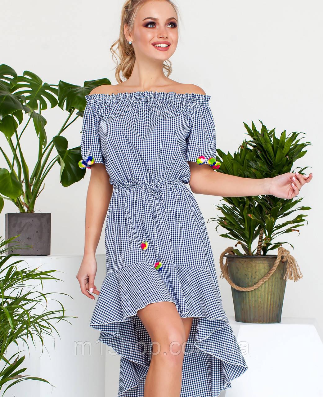 Женское асимметричное платье в мелкую клетку (Лаура jd)