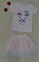Комплект футболка юбка фатин возраст 5-6 лет пр-во Венгрия, фото 1