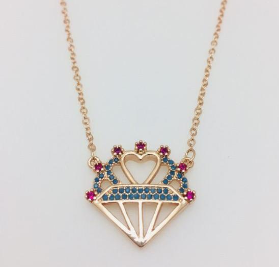 Цепочка+ кулон Бриллиант и сердце, длина 45-50 см ювелирная бижутерия Fallon
