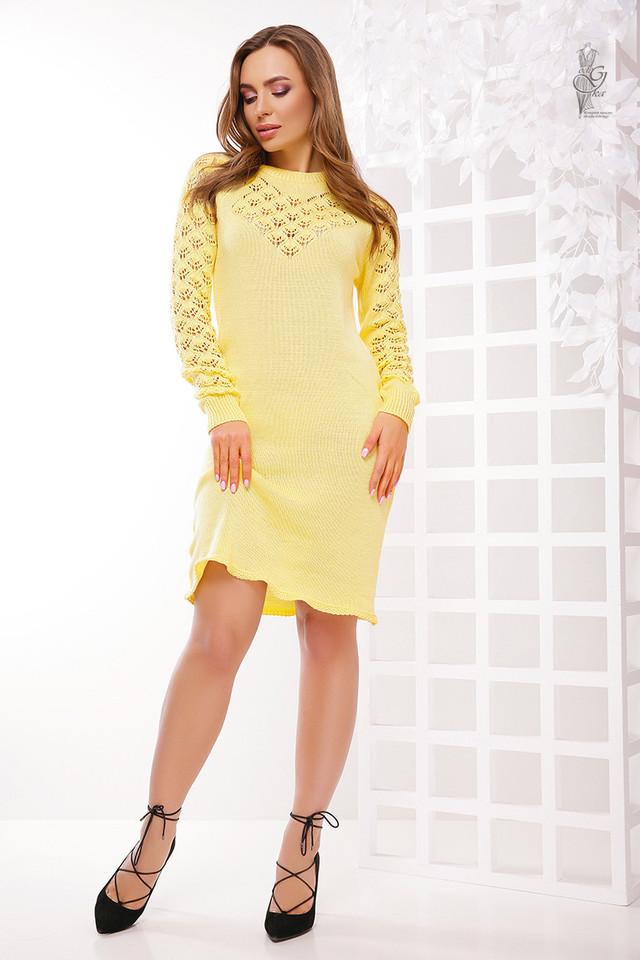 Цвет желтый Вязаного платья из хлопка и акрила Карина