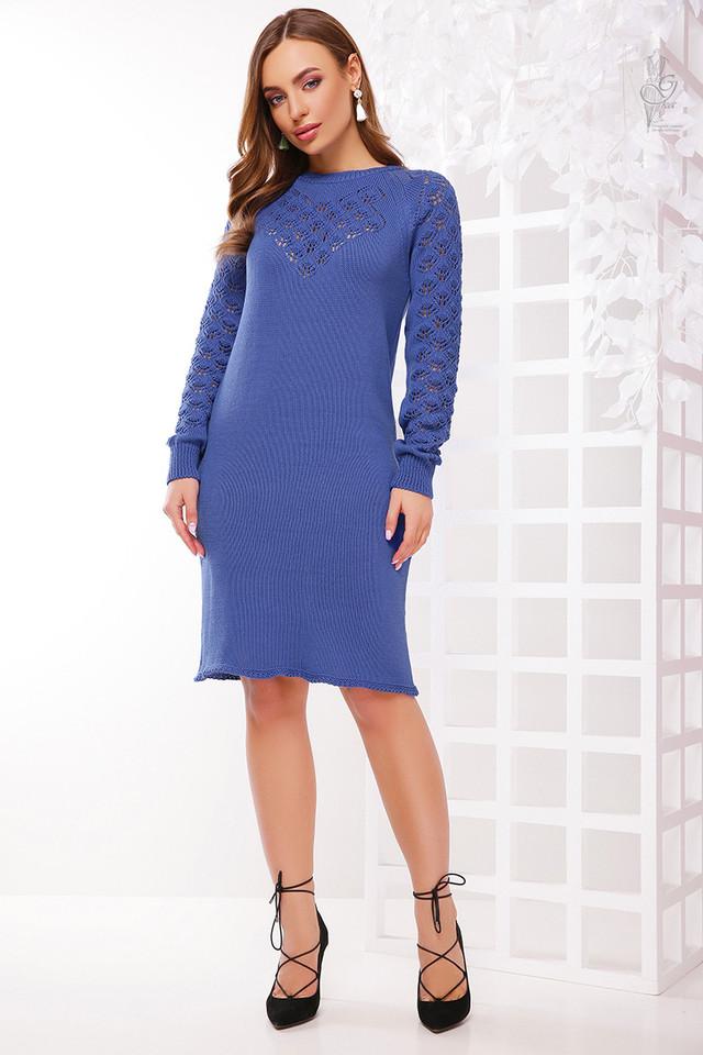 Цвет джинс Вязаного платья из хлопка и акрила Карина