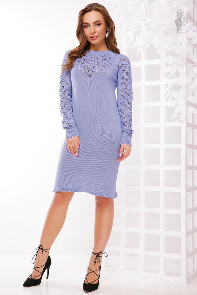 Цвет сирень Вязаного платья из хлопка и акрила Карина
