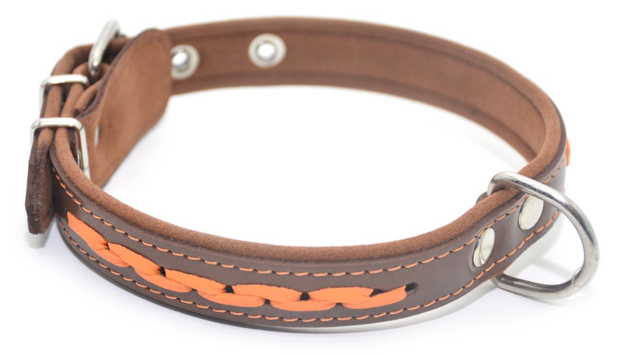 Ошейник для собак кожаный с плетением VIP 6 коричневый+рыжий