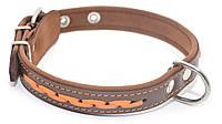 Ошейник для собак кожаный с плетением VIP 6 коричневый+рыжий, фото 1