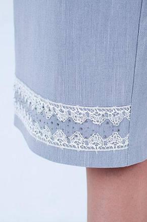 Модная юбка прямого покроя с кружевом и стразиками, фото 3
