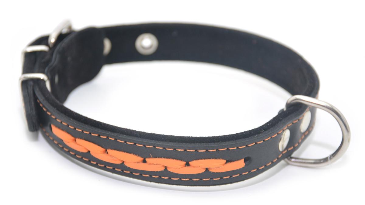 Ошейник для собак кожаный с плетением VIP 6 черный+рыжий