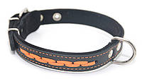 Ошейник для собак кожаный с плетением VIP 6 черный+рыжий, фото 1