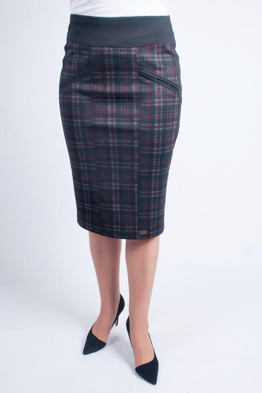 Женская оригинальная офисная юбка-карандаш из трикотажа