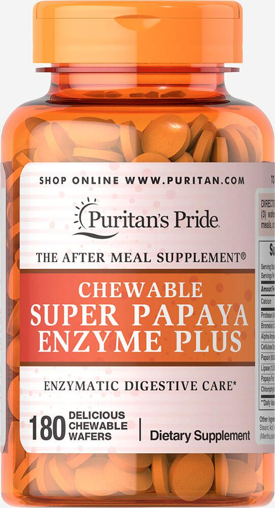 Ферменты папайи, Chewable Super Papaya Enzyme Plus, Puritan's Pride, 180 жевательных конфет