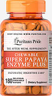 Ферменты папайи, Chewable Super Papaya Enzyme Plus, Puritan's Pride, 180 жевательных конфет, фото 1