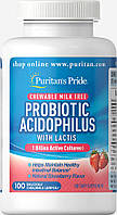 Пробиотик Ацидофилус, клубничный, Probiotic Acidophilus Chewables, Puritan's Pride, 100 жевательных конфет