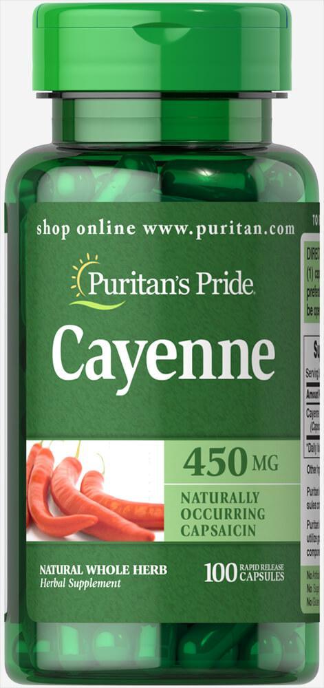 Кайенский перец, Cayenne 450 mg, Puritan's Pride, 100 капсул