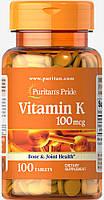 Витамин К, Vitamin K 100 mcg, Puritan's Pride, 100 таблеток