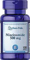 Ниацинамид, Niacinamide 500 mg, Puritan's Pride, 100 таблеток