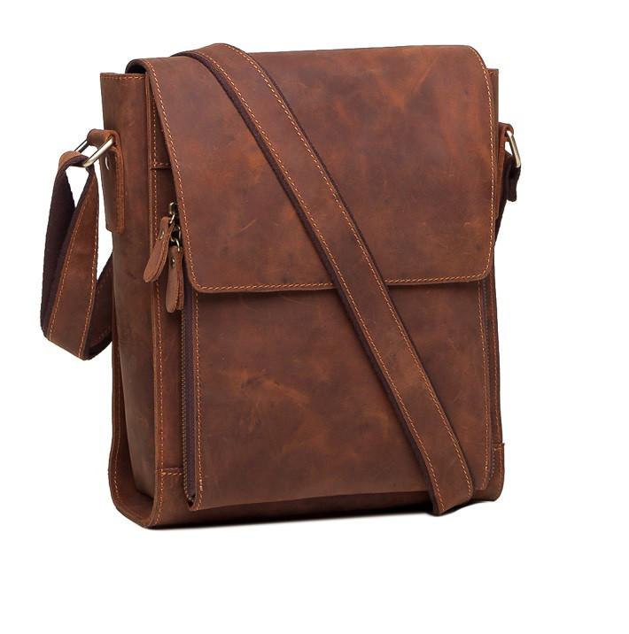 76fb3c1466f4 Стильный мужской Мессенджер из натуральной винтажной кожи в коричневом  цветеTIDING BAG 7055R - Интернет-магазин