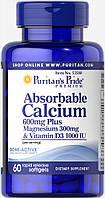 Кальций плюс Магний и витамин Д, Calcium 600mg + Magnesium 300mg Vitamin D 1000iu, Puritan's Pride, 60 капсул