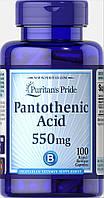 Пантотеновая кислота, Pantothenic Acid 550 mg Rapid Release, Puritan's Pride, 100 капсул