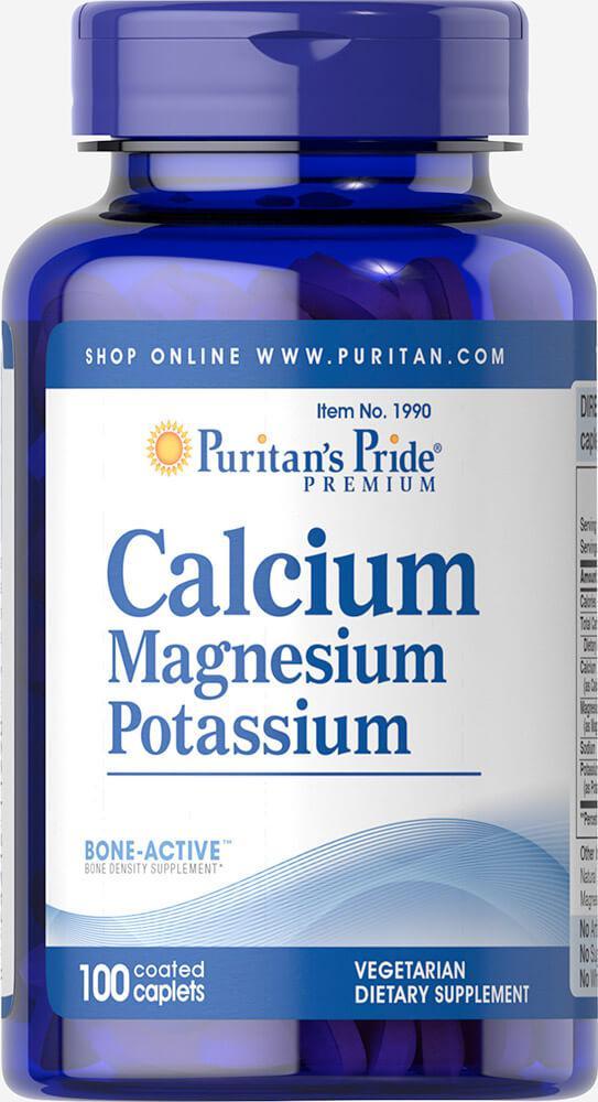 Кальций Магний Калий, Calcium Magnesium Potassium, Puritan's Pride, 100т аблеток