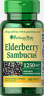 Бузина, Elderberry Sambucus 1250 mg, Puritan's Pride, 60 капсул