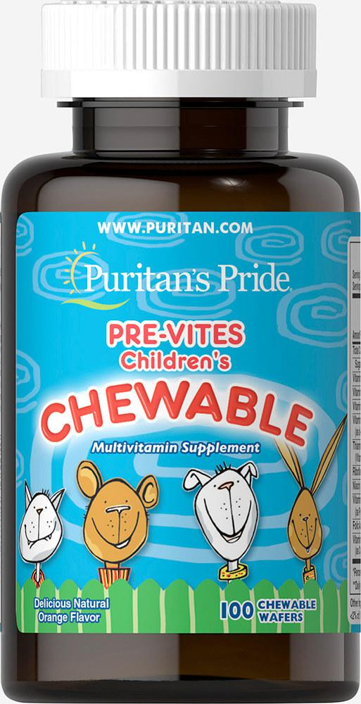 Мультивитамины для детей, Pre-Vites Children's Multivitamin, Puritan's Pride, 100 жевательных конфет