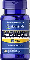 Мелатонин Экстра сила, Extra Strength Melatonin 5 mg, Puritan's Pride, 60 капсул