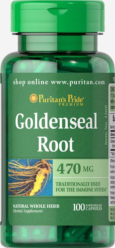 Желтокорень Голденсил, Goldenseal Root 470 mg, Puritan's Pride, 100 капсул